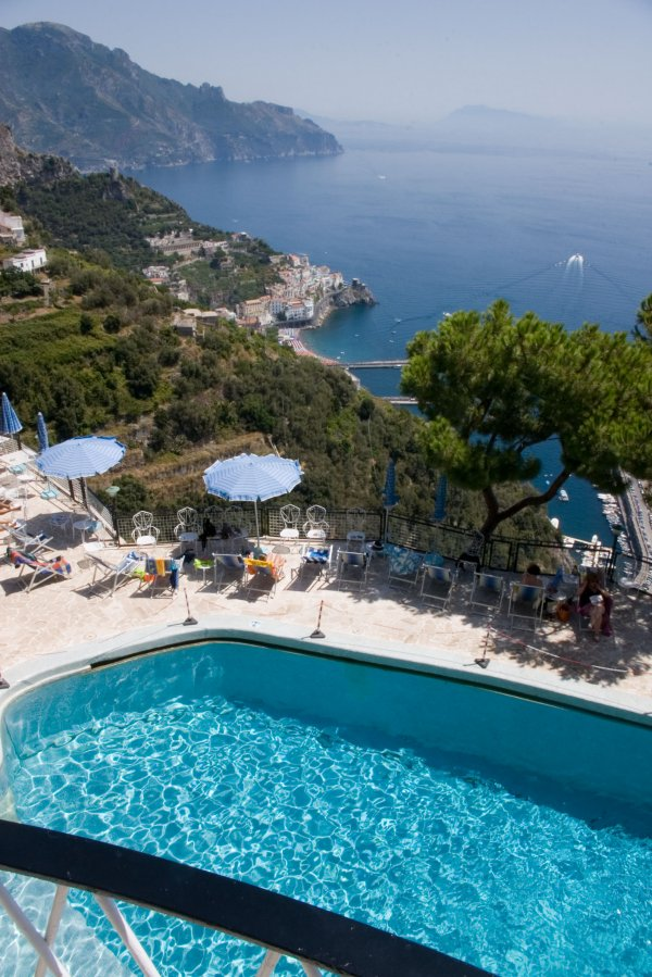 View over pool down to Amalfi