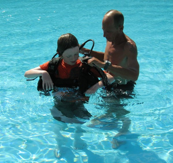Ryan tries the Scuba gear in our hotel in Cyprus