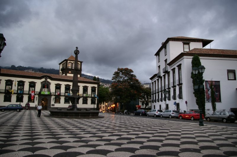 Funchal square as evening draws in